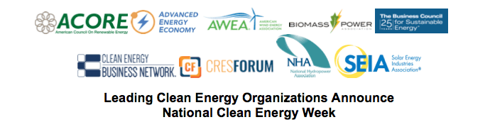 Leading Clean Energy Organizations Announce National Clean Energy Week